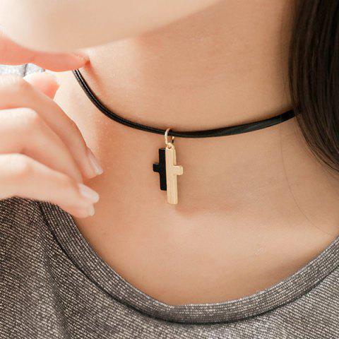 Sale Faux Leather Splicing Cross Choker Necklace