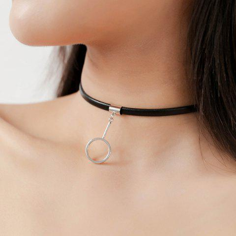 Faux Leather Circle Pendant Choker Necklace - SILVER