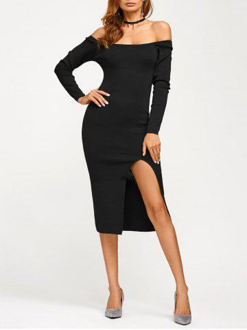 Off Shoulder Long Sleeve Slit Pencil Dress - Black - One Size