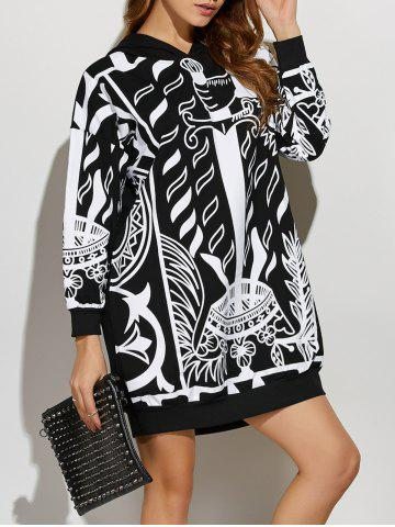 Latest Drop Shoulder Print Hoodie Dress BLACK ONE SIZE