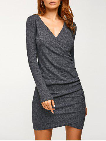 Outfits Long Sleeve Ruched V Neck Bandage Dress DEEP GRAY XL