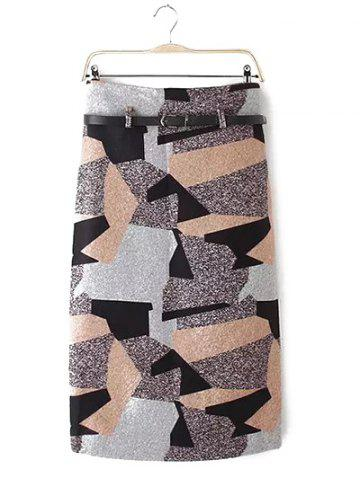 Geometry Patchwork Skirt with Belt - Colormix - S