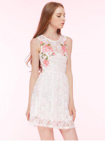Affordable Embroidered Lace Summer Skater Dress - L WHITE Mobile