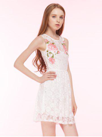 Trendy Embroidered Lace Summer Skater Dress - L WHITE Mobile