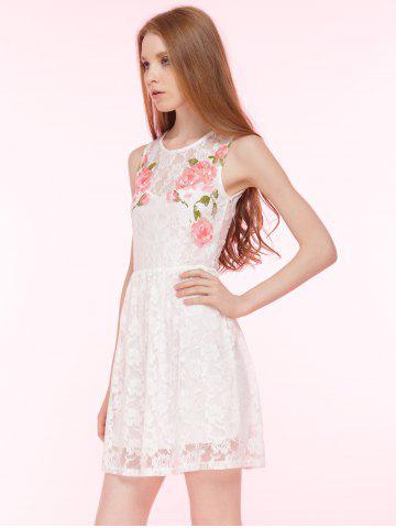 Fancy Embroidered Lace Summer Skater Dress - L WHITE Mobile