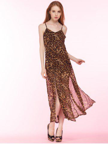 Store Cami Leopard Print High Slit Maxi Dress BROWN 2XL