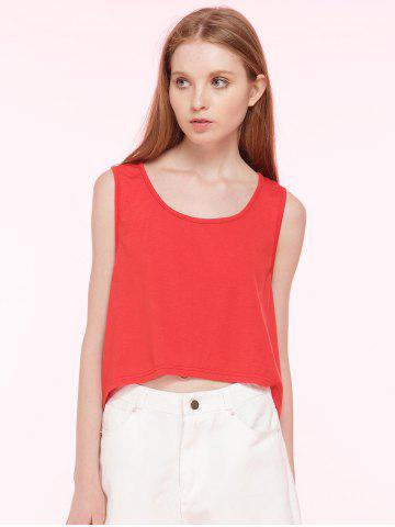 Fancy Cut Out Cropped Loose Tank Top