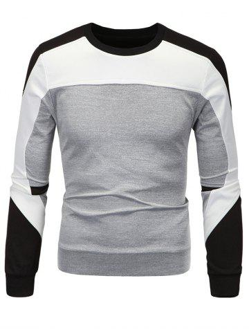 Hot Color Block Spliced Long Sleeve Sweatshirt GRAY 3XL