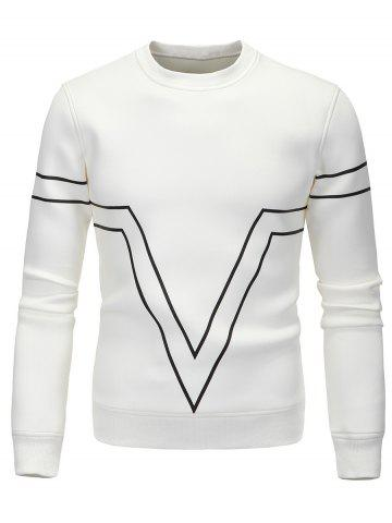 Outfit Striped Triangle Printed Long Sleeve Sweatshirt WHITE M
