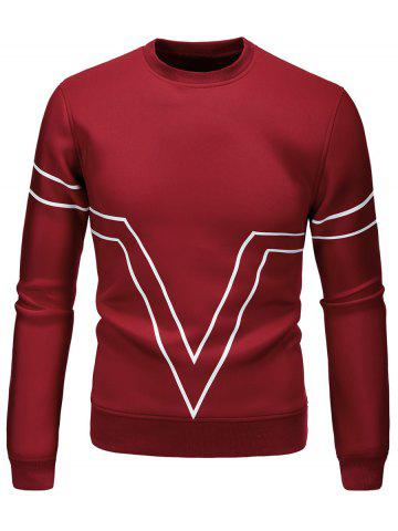 Sale Striped Triangle Printed Long Sleeve Sweatshirt - L WINE RED Mobile