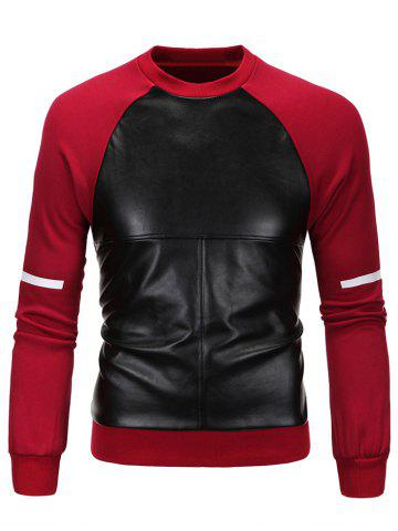 Fashion PU Spliced Cross Print Long Sleeve Sweatshirt RED 3XL