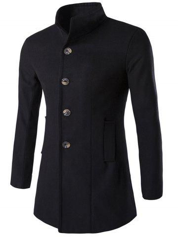 Trendy Long Sleeves Single-Breasted Woolen Blend Coat BLACK 3XL
