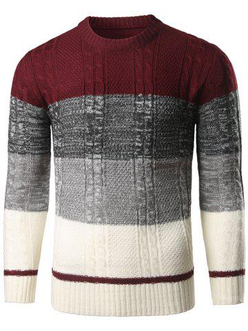 Discount Color Block Twist Striped Sweater WINE RED XL