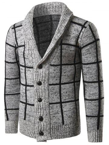 Shawl Collar Grid Pattern Button Up Cardigan - Gray - M