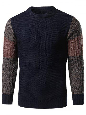 Outfit Color Block Splicing Long Sleeve Crew Neck Sweater CADETBLUE XL