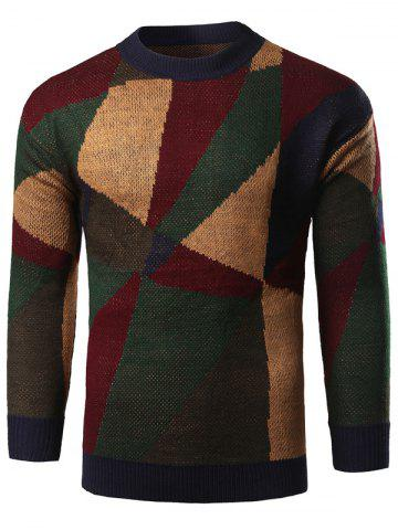 Unique Geometric Print Color Block Knitted Sweater GREEN 2XL
