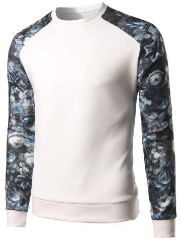 Affordable Floral Print Color Block Spliced Long Sleeve Sweatshirt - 5XL WHITE Mobile