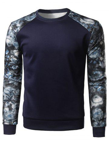 Latest Floral Print Color Block Spliced Long Sleeve Sweatshirt - M CADETBLUE Mobile