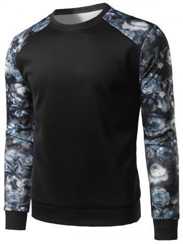 Sale Floral Print Color Block Spliced Long Sleeve Sweatshirt