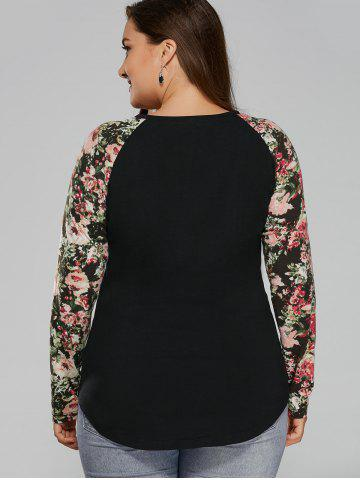 New Plus Size Floral Raglan Full Sleeve T-Shirt - 2XL BLACK Mobile