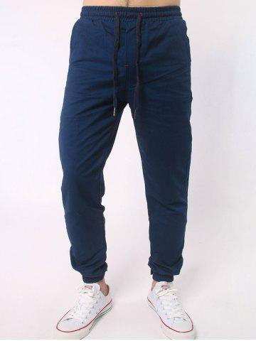 New Number Embroidered Zipper Bmbellished Chino Jogger Pants DEEP BLUE 4XL