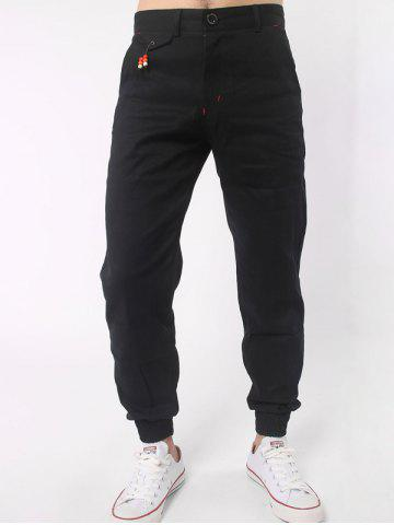 Affordable Zipper Fly Beads Embellished Chino Jogger Pants BLACK 3XL