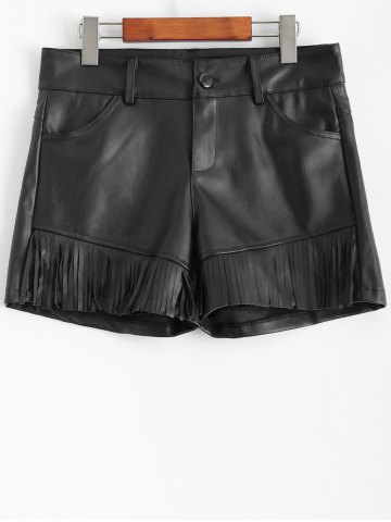 Outfit Plus Size Fringed Faux Leather Shorts BLACK 5XL