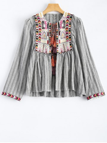 Round Neck Striped Embroidered Jacket - STRIPE L