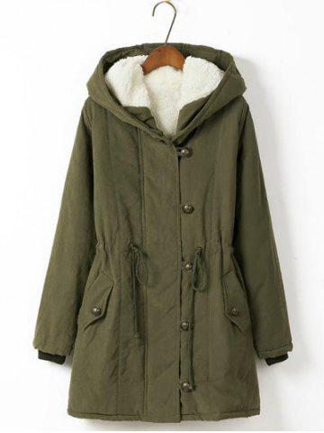Army Green Xl Plus Size Hooded Drawstring Long Winter Parka Coat ...
