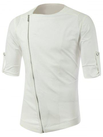 Sale Half Sleeve Side Zip Up Tee WHITE 2XL