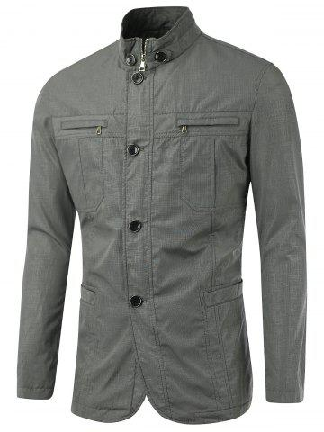 Buy Stand Collar Zipper Button Design Slim-Fit Jacket GRAY XL