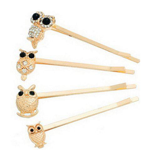 Shop 4 Pcs Alloy Owl Hair Accessory GOLDEN
