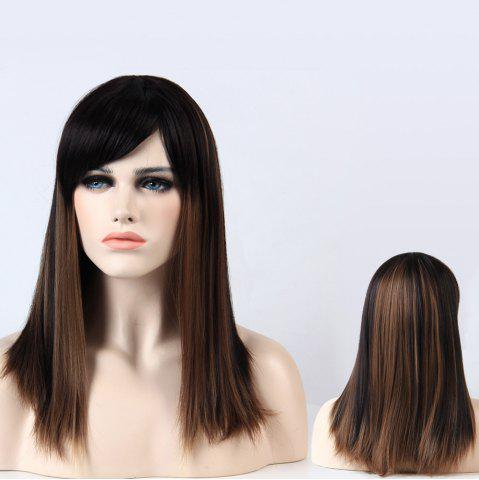 Fashion Adiors Full Bang Long Silky Straight Highlight Synthetic Wig
