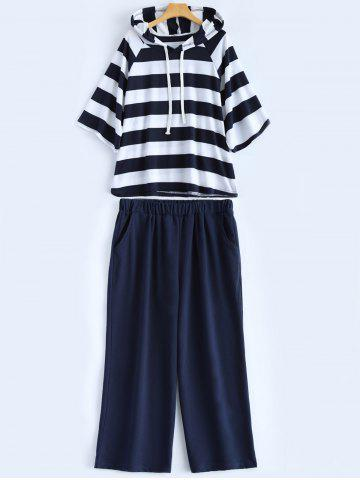 Affordable Plus Size Stripe Hoodie and Casual Pants Set