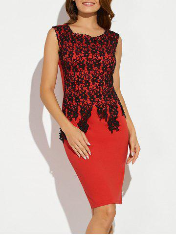 Latest Sleeveless Lace Applique Slimming Dress RED 2XL