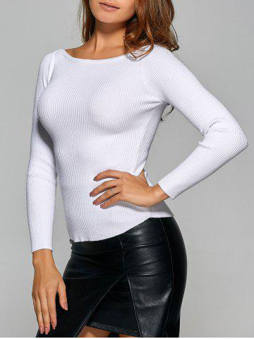 Ribbed Boat Neck Stretchy Knitwear