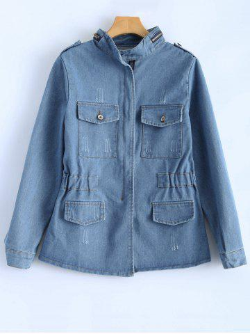 Cheap Elastic Waist Bleach Wash Jean Jacket