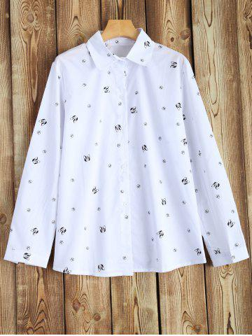 Outfits Plus Size Long Sleeve Printed Shirt WHITE 4XL