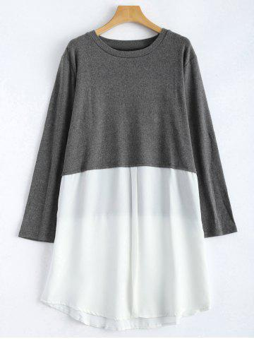 New Plus Size Long Sleeve Chiffon Spliced Dress GRAY XL