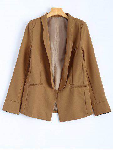 Unique Front Pocket Slim  Fitted Blazer - L CAMEL Mobile