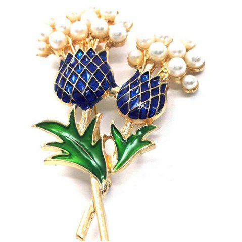 Chic Faux Pearl Enamel Pineapple Brooch GOLDEN