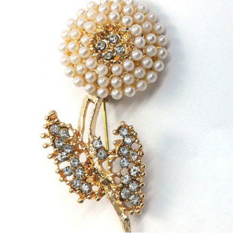 Store Rhinestone Faux Pearl Flower Brooch GOLDEN