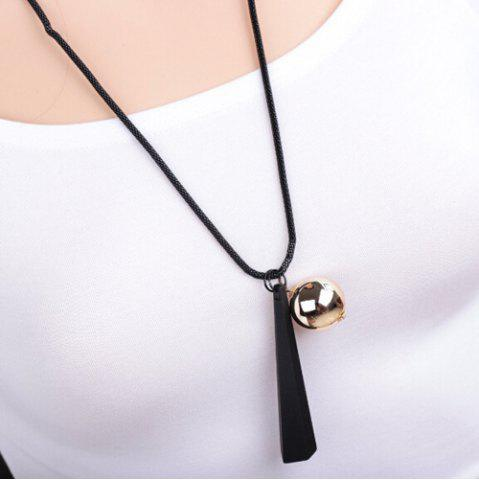 Discount Geometry Wood Metal Ball Embellished Sweater Chain