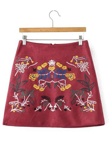 Store Faux Suede Skirt with Embroidery WINE RED M