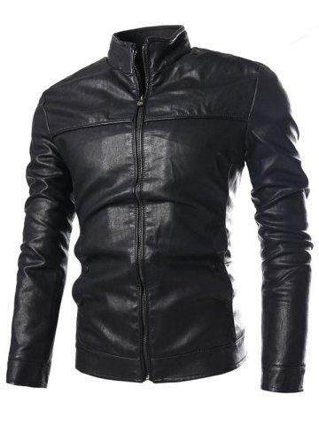 Shop PU-Leather Stand Collar Zip-Up Jacket BLACK 3XL