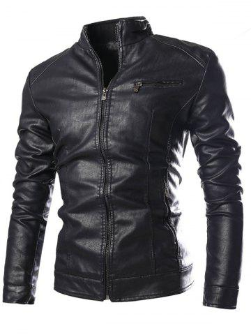 Affordable PU-Leather Stand Collar Zipper Embellished Jacket