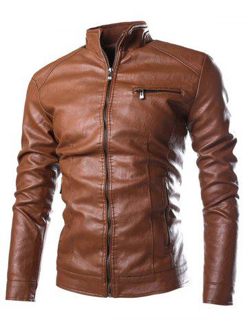 PU-Leather Stand Collar Zipper Embellished Jacket - Brown - M