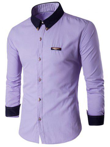 Contrast Collar Metal Embellished Button Up Shirt - Purple - L