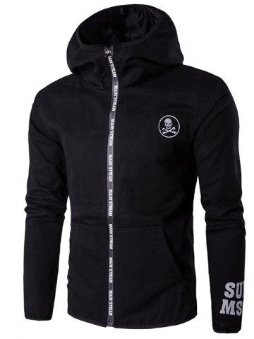 Sale Hooded Skull Applique Selvedge Embellished Plus Size Jacket - 4XL BLACK Mobile
