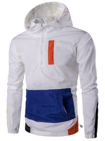 Outfits Hooded Plus Size Half-Zip Color Block Spliced Jacket WHITE 4XL